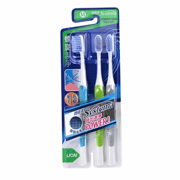 LION Systema Spiral Tooth Brush Compact Head 3 packs