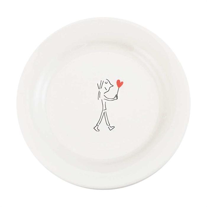 Gien Amoureux series - dessert plate 22cm - Femme 1 coeur