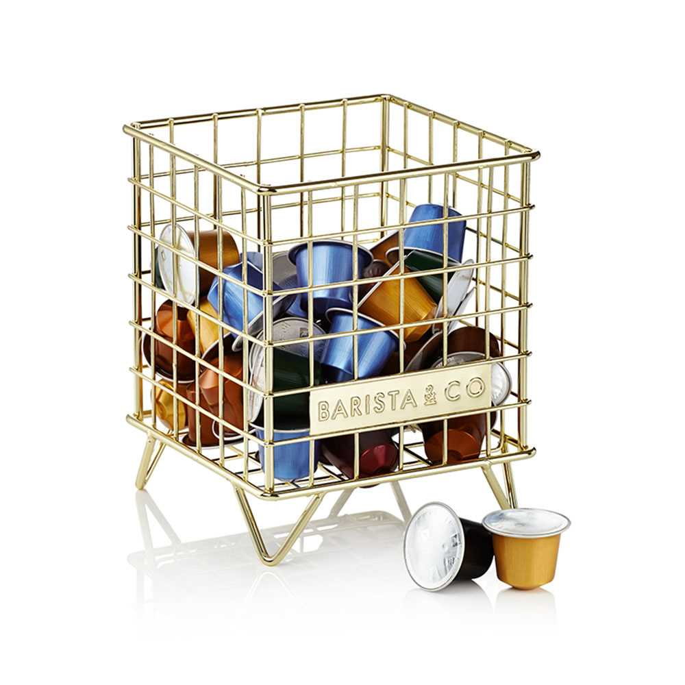 Barista & Co. Corral Pod Coffee Cap. Storage(Gold)