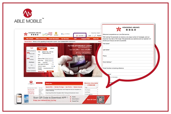 Able deployed the Live Chat feature successfully for Hong Kong Airlines to enhance customer experience!