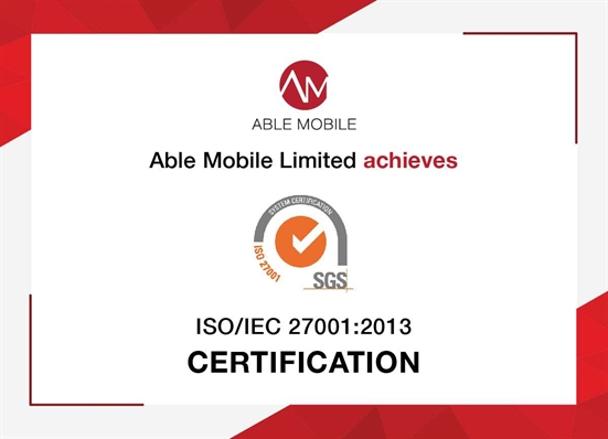 Able Mobile Limited (ACG Member) has certification for compliance with ISO/IEC 27001:2013