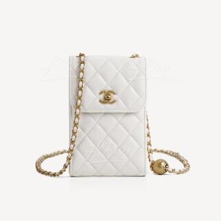 Chanel 小金球手機鏈袋 白色