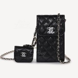 Chanel 鏈帶手提電話及AirPods皮套斜揹袋