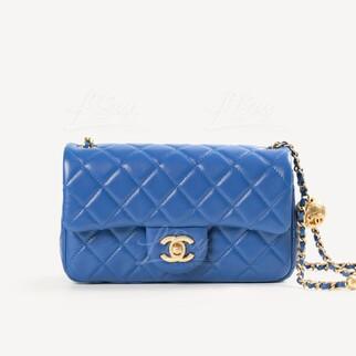 Chanel 小金球20cm藍色垂蓋手袋