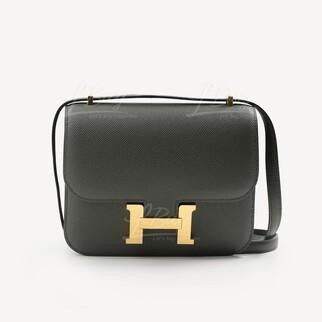 Hermes Mini Constance 19 墨綠色金扣