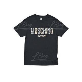 Moschino Swim 豹紋Logo 短袖T恤 黑色