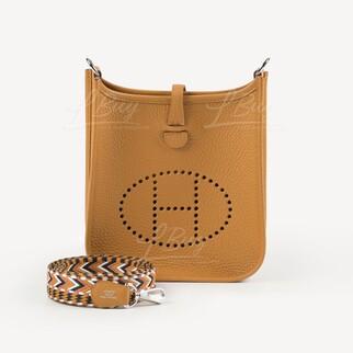 Hermes Mini Evelyne 16 Amazone Bag 芝麻色配彩帶