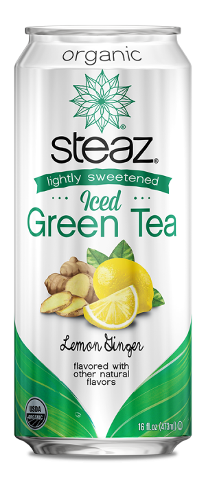 Steaz Organic Lighty Sweetened Iced Green Tea (Lemon Ginger)