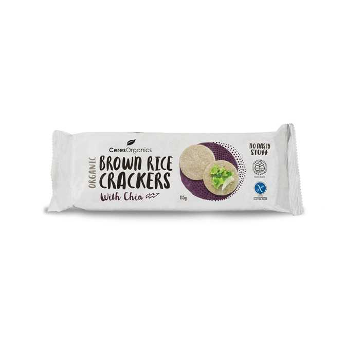 Ceres Organics Brown Rice Crackers with Chia 115g