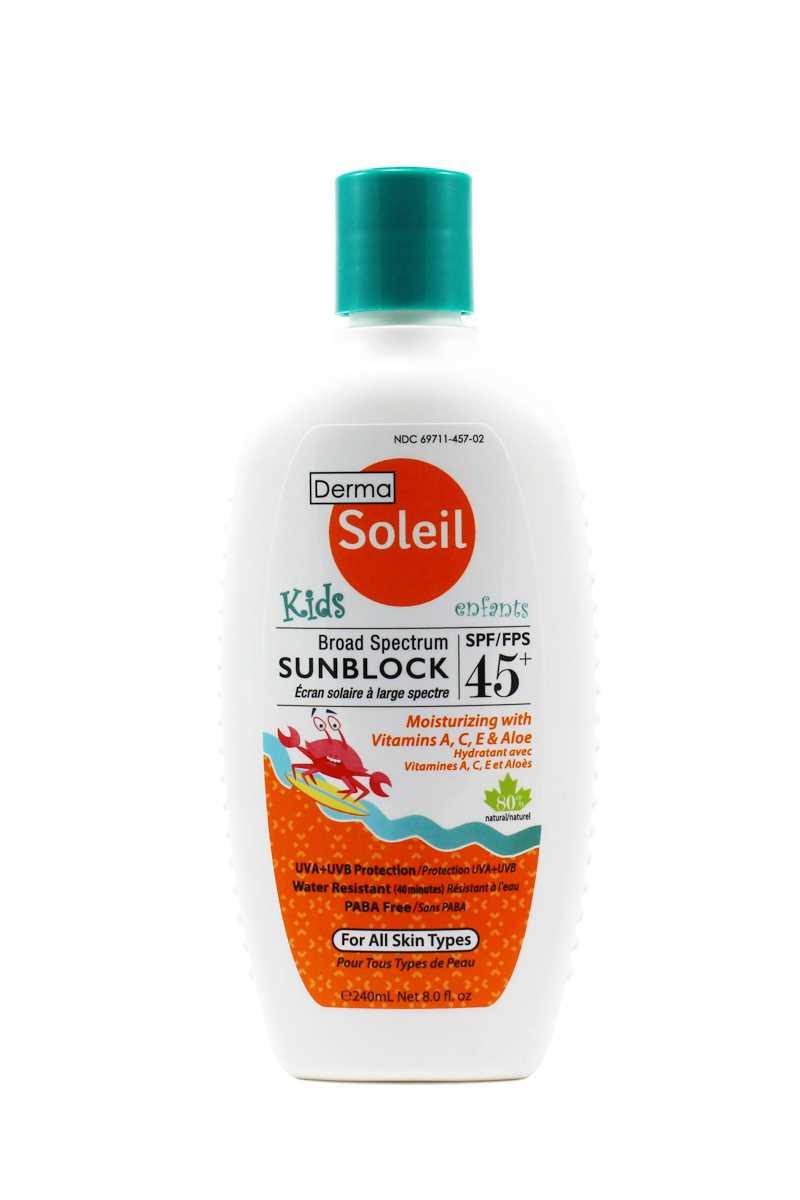 Derma Soleil 80% Natural Kids Sunblock 45 (240ml)